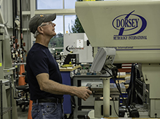 A technician testing for quality assurance.