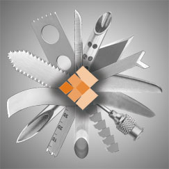A graphic with different types of blades with the Cadence logo in the middle.