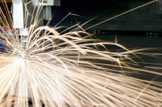 An image of a close up of the laser cutting process.